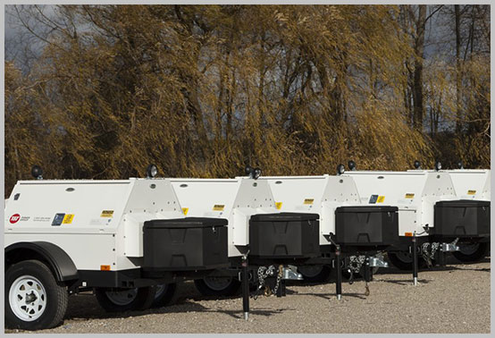 A fleet of mobile power generators for rent